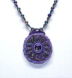 Handmade Bead Embroidered Necklace in Purple and by BeadsFromHaven, $38.00