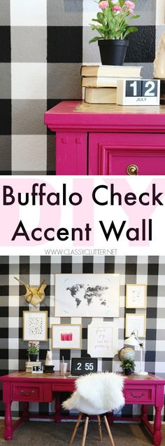 DIY Buffalo Check Accent Wall - All you need is 4 shades of paint, a level and some @scotchblue painter's tape to make the coolest focal wall you've ever seen! - Click for full tutorial. - www.classyclutter.net #sbpattern #paintpreppull