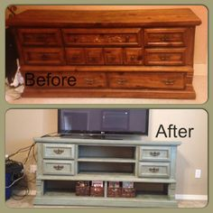 "Turned a Craig's list dresser into an awesome entertainment center! Using Annie Sloan chalk paint in ""duck egg"" and dark wax to give it a distressed rustic look."