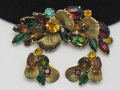 JULIANA Rhinestone Glass Brass  Brooch Pin Earring SET Book Piece