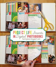 This is genius! Suggested by Vera8181 // Project Life Inserts in Digital Photo Books {FamilyBees}