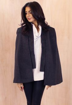 Collarless Double Layer Cape Coat in Charcoal Grey - One Nation Clothing - Neon Rose - 1