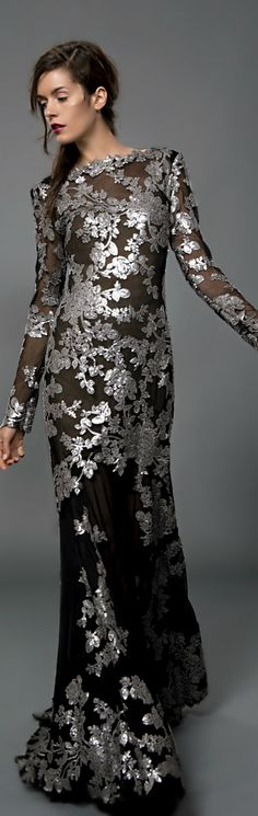 Tadashi Shoji Paillette Embroidered Lace Gown in Duchess Grey - Evening  Gowns - Evening Shop 0b3c870a492