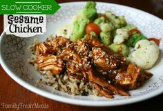 Sweet Slow Cooker Sesame Chicken Recipe. A healthier version of your favorite take-out, made in the crockpot!