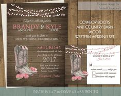 Printable Country Western Wedding Invitations Set Cowboy Boots Wedding Pink Flowers on wood grain Hanging Lights Digital Printable