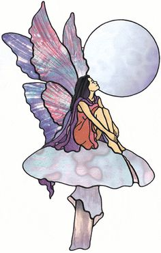 Fairy on toadstool free sample  from Stained Glass Patterns by Jillian Sawyer, from Glass Books