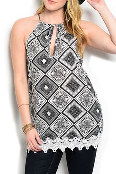 DHStyles Women's Black White Plus Size Sexy Trendy Crocheted Print Keyhole Halter Top - 1X Plus #sexytops #clubclothes #sexydresses #fashionablesexydress #sexyshirts #sexyclothes #cocktaildresses #clubwear #cheapsexydresses #clubdresses #cheaptops #partytops #partydress #haltertops #cocktaildresses #partydresses #minidress #nightclubclothes #hotfashion #juniorsclothing #cocktaildress #glamclothing #sexytop #womensclothes #clubbingclothes #juniorsclothes #juniorclothes #trendyclothing…