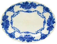 Large Blue & White Ceramic Serving Platter English 19th Century
