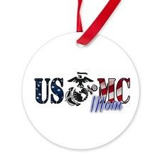 Marine Mom Gifts for all Mothers of Marines. You know she wants this. All USMC parents love military swag to brag on their son or daughter.    Deck out your military themed Christmas tree with this patriotic themed military design.