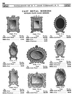 H L JUDD CO., N.Y. cast metal  frames with beveled mirrors, Catalogue No. 50, January 1913, pg. 296.