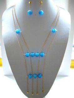 handmade double strand necklaces | Double Strand Gold Chain Necklace with Aqua by DesignsbyPattiLynn, $60 ...