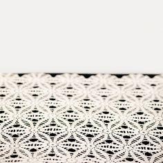 Kimber crochet runner: Long beige table runner measures 16 wide by 68 long.
