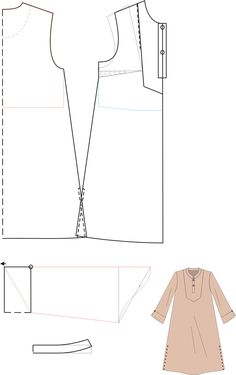 Creativity Tutorial: Caftan pattern from Ups!{Two Options Pattern Making, So Shape Or File? {Crafters, you'll need to translate this from Dutch! Dress Sewing Patterns, Sewing Patterns Free, Sewing Tutorials, Clothing Patterns, Sewing Diy, Sewing Shirts, Sewing Clothes, Diy Clothes, Modelista