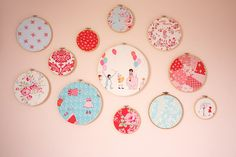 Embroidery hoops used as pictures on a wall... by Diary of a Quilter