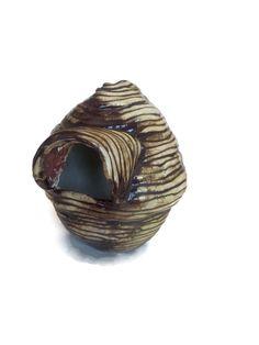 Contemporary brown ceramic bird house textured small bird
