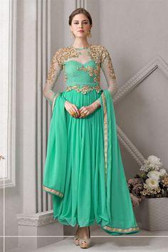 Sea Green Designer Georgette Anarkali Salwar Suit