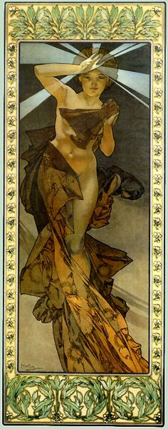 The Morning Star, Alphonse Mucha, 1902 Mucha was a prolific Art Nouveau artist and Freemason. My esoteric Brothers will understand the significance of this work by Brother Mucha. Mucha Art Nouveau, Alphonse Mucha Art, Mucha Artist, Art And Illustration, Art Amour, Jugendstil Design, Kunst Poster, Morning Star, Fine Art