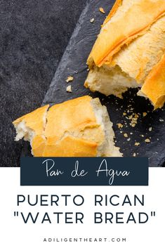 "One of my favorite breads to eat from back home (Puerto Rico) is Pan de Auga. Literally translated: ""bread of water"" or ""water bread"" but that's not really how you would refer to it. Puerto Rican Bread Recipe, Puerto Rican Dishes, Puerto Rican Cuisine, Puerto Rican Recipes, Cuban Recipes, Puerto Rican Appetizers, Spanish Recipes, Yummy Recipes, Recipies"