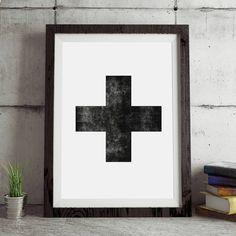 Swiss Cross black Scandinavian art http://www.notonthehighstreet.com/themotivatedtype/product/swiss-cross-black-and-white-scandinavian-art-print Limited edition art print, order now!