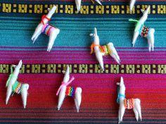 Cute Llama Miniatures / Charms / worry dolls from Peru! We love llamas!