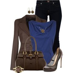 """""""Blazer, Heels, & Jeans"""" by kswirsding on Polyvore"""