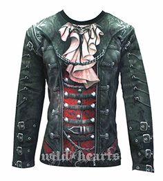 GOTHIQUE WRAP Men's Long Sleeve Jersey All Over Printed Garment (XX-Large). Steam Punk biker should be without this. Realistic leather, laces and buckles with a metallic winged skull and salmon pink cravat. This is Heavy Metal with a twist of Victorian elegance, and every bit the gothic Spiral masterpiece. 100% Cotton / Hand Wash Separately / Max Temp 40 / Dry Flat / Do Not Tumble Dry / Always Iron Inside Out. Long Sleeve T-Shirt Black is made of Top Quality 100% Cotton, Jersey using skin...