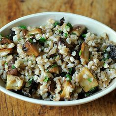 Farro Salad with Roasted Mushrooms and Parmesan Recipe on Food52 recipe on Food52 Add caramelized onoons and green onions.