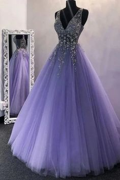 A Line V Neck Purple Beaded Long Prom Dresses, V Neck Backless Purple Long Formal Evening Dresses VP49 by VestidosProm, $162.67 USD