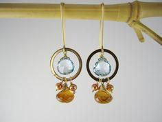 Lisa Chandler Jewelry — Blue Topaz, Hessionite Garnet, Gold-Fill Earrings -- One-of-a-Kind (F976)