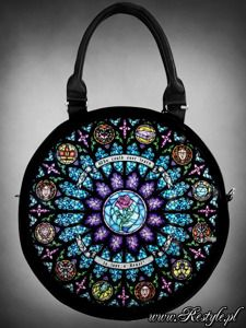 "torebka Round bag "" CATHEDRAL ROSETTE"" stained glass Beauty and the Beast"