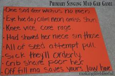The BIG List of Primary Singing Time Ideas | Making Life Blissful Lds Primary Songs, Primary Singing Time, Primary Lessons, Primary Music, Mad Gabs, Visiting Teaching Handouts, Primary Chorister, Relief Society Activities, Time Games