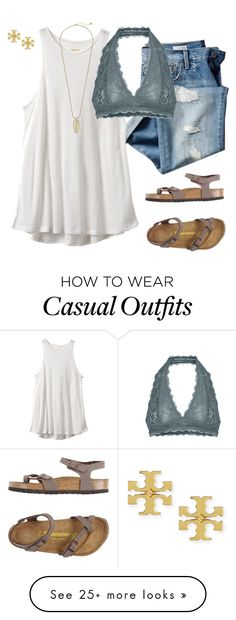 """Casual ootd"" by dancetx on Polyvore featuring Gap, Birkenstock, Free People, Tory Burch and Kendra Scott"