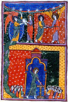 John Receives The Book And The Rod And Measures The Temple | Beatus of Liébana | Las Huelgas Apocalypse | 1220 | The Morgan Library & Museum