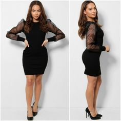 Womens Black Ribbed Organza Fitted Bodycon Mini Dress Stretchy Size S/M UK 8 10 #Unbranded #Bodycon #BusinessFormalPartyCocktail Business Formal, Lbd, Party Dresses, Winter Fashion, Mini, Sleeve, Womens Fashion, Fitness, Christmas