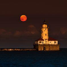 Full Moon navy Pier Chicago  8/14/2011 by John Harrison