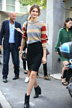 sweater + pencil skirt + booties