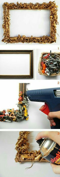DIY: Bilderrahmen verschönern // DIY tutorial: new look for your picture frame . Diy For Kids, Crafts For Kids, Craft Projects, Projects To Try, Diy And Crafts, Arts And Crafts, Diy Y Manualidades, Art Diy, Creation Deco