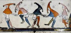 *Dancing figures in Hoods. Flemish Tournai. 1338-44. Bodl. 264: