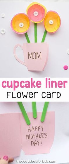 This beautiful cupcake liner Mother's Day Card is handmade and perfect for kids to make!