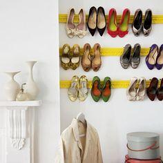 DIY organizing idea: Shoe storage idea using architectural plaster moldings
