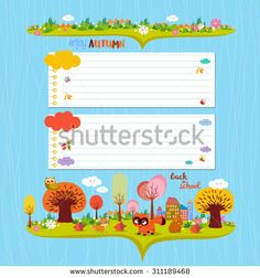 Hello autumn. Design elements for notebook. note papers - stock photo