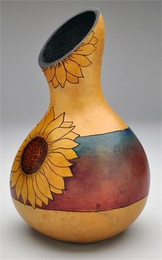 Sunflower Gourd Vase by Christy Barajas