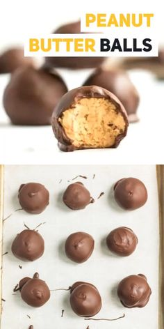 Chocolate Covered Peanut butter balls recipe- Easy Peanut Butter Balls - New ideas Mini Desserts, Holiday Desserts, Delicious Desserts, Yummy Food, Healthy Food, Healthy Eating, Healthy Desserts, Healthy Life, Low Carb Peanut Butter