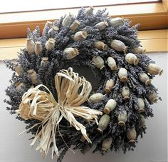 Lavender Poppy / Seller 's Goods Lavender Crafts, Lavender Wreath, Diy Wreath, Grapevine Wreath, Corn Husk Wreath, Creation Crafts, Flower Company, Welcome Wreath, Fall Wreaths