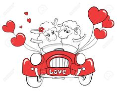 Пара в любви. Счастливая пара овец в свадебный автомобиль. Идея для поздравительной открытки с Днем свадьбы или День святого Валентина. Мультфильм каракули векторные иллюстрации Клипарты, векторы, и Набор Иллюстраций Без Оплаты Отчислений. Image 30649505.