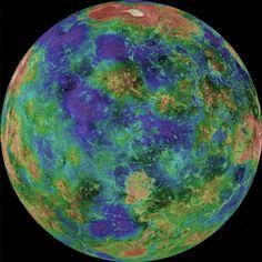 Mapa topográfico de la superficie de Venus obtenido por la Magallanes.