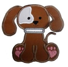 Loose Ears Pup Applique - 3 Sizes! | Tags | Machine Embroidery Designs | SWAKembroidery.com Band to Bow