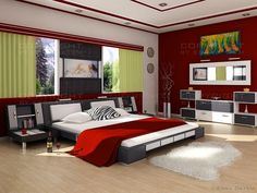 Modern Bedroom Red interest wall colors for bedrooms : bedroom colors ideas red color