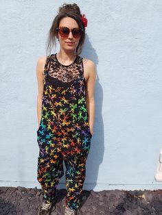 Black Tie Dye Gecko Dungarees, Lizard Salamander Jumpsuit, Funky Festivals Hippy Boho, Colourful Gecko Overalls