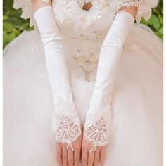 Ivory Lace Beaded Over the Elbow Fingerless Wedding Bridal Gloves SKU-11201003